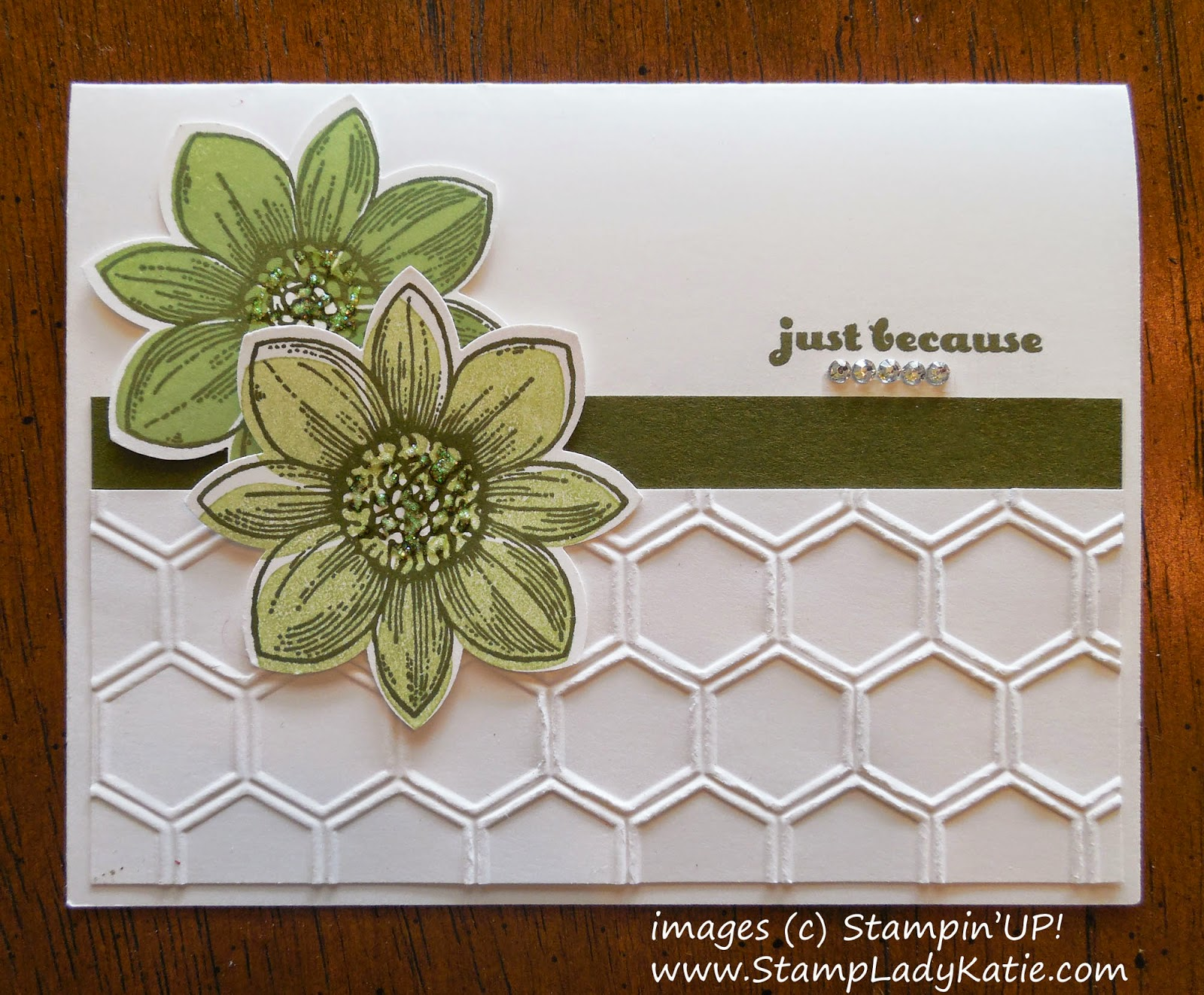 Card made with Stampin'UP!'s Petal Potpourri Stamp Set and Honeycomb Embossing Folder