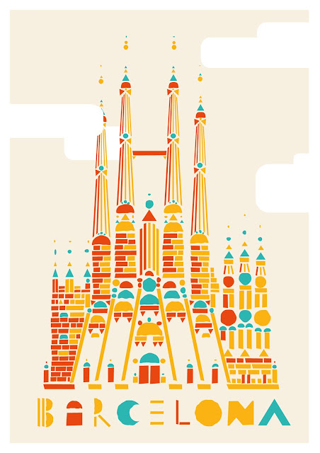 Barcelona Print on Illustration