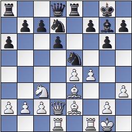 Posición de la partida de ajedrez Ramón Crusi Moré - John Armstrong después de 14. f4!?