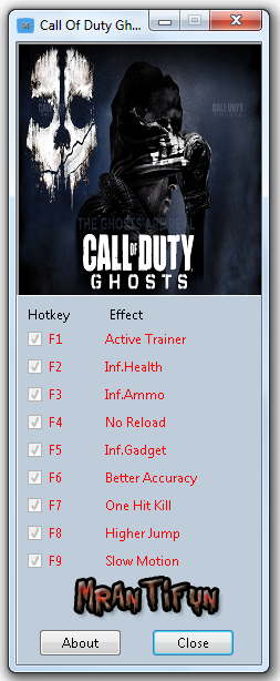 Call Of Duty Ghosts Trainer +8 For game update #2 MrAntiFun