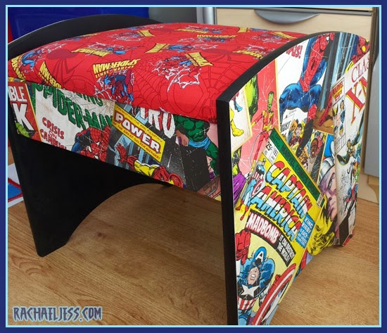 Wallpapered Marvel Stool...... for when the painting goes wrong!