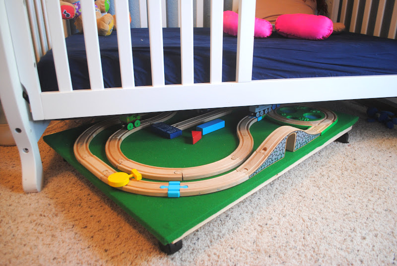 under the bed train table diy