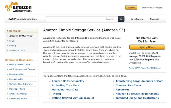 Amazon S3 home page