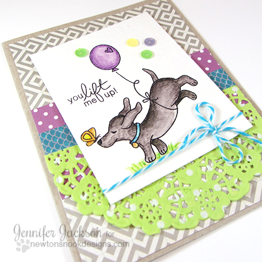 You lift me up Dachshund card by Jennifer Jackson | Delightful Doxies stamp set by Newton's Nook Designs