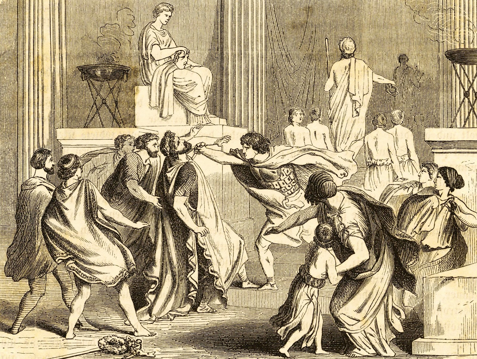 Este grabado recrea el asesinato de Filipo por Pausanias, uno de sus guardaespaldas, durante la boda de su hija Cleopatra con el rey de Epiro. Algunos vieron tras el crimen la mano de su esposa Olimpia e incluso de su hijo Alejandr
