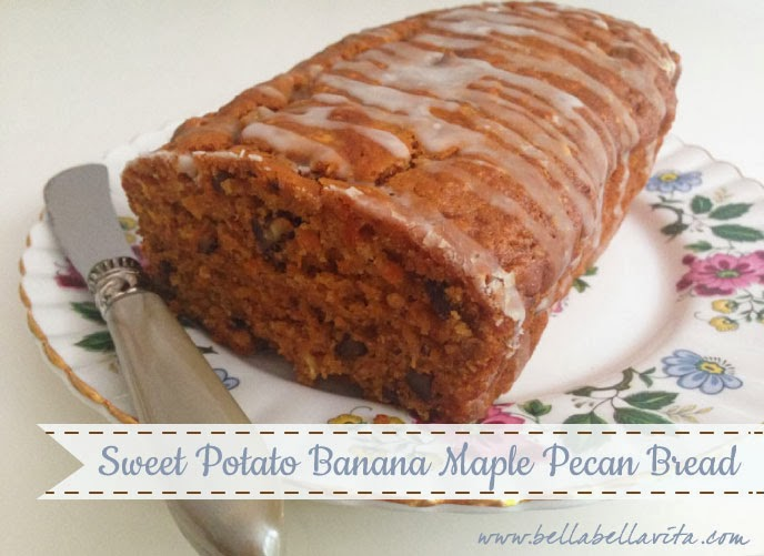 Sweet Potato Banana Maple Pecan Bread recipe (low-fat)