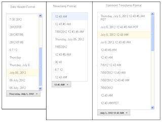Change time and date format in blogger ScreenShot