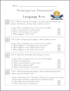Mrs Ricca S Kindergarten Common Core Assessment Packet