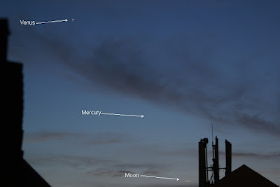 Venus, Mercury and the crescent moon
