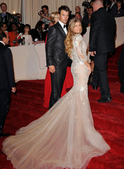 Fergie in a silvery, embellished Marchesa gown at the 2011 MET Gala