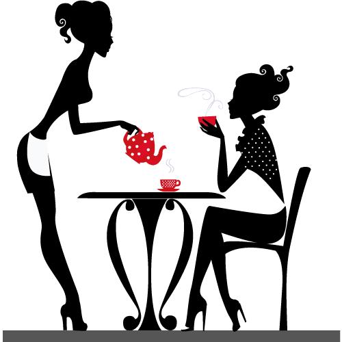 Chicas tomando café - Vector