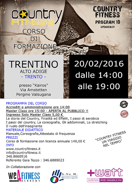 Corso di formazione Country Fitness Trentino A.A., 20 febbraio 2016 a Pergine Valsugana, Trento