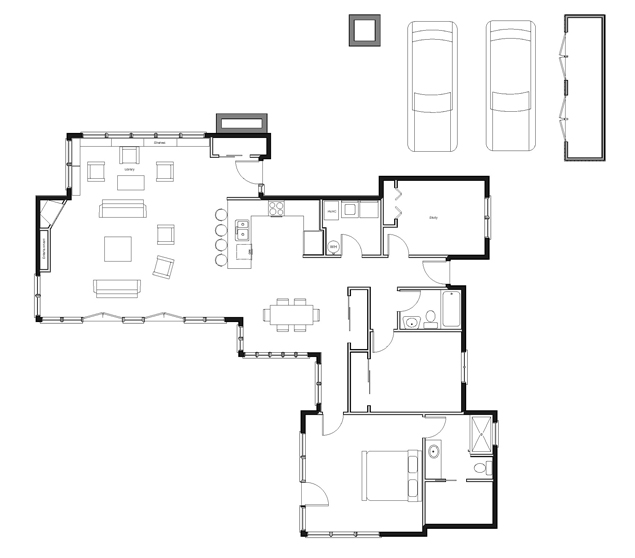 Usonian house plans usonia 1 99 invisible usonian house for Zimmerman house floor plan