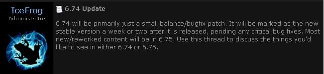 6.74 status update