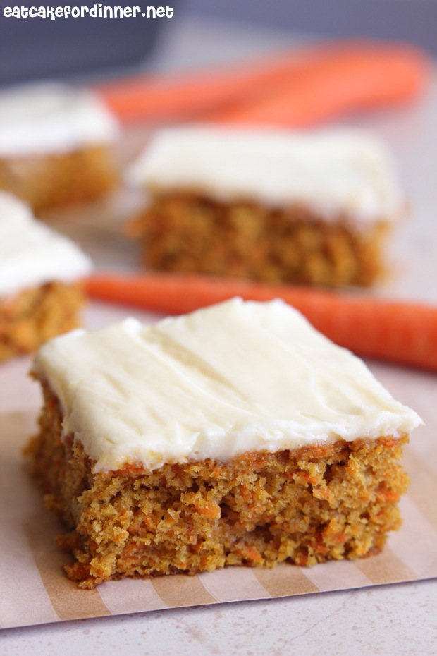 Recipe for carrot cake bars with cream cheese frosting