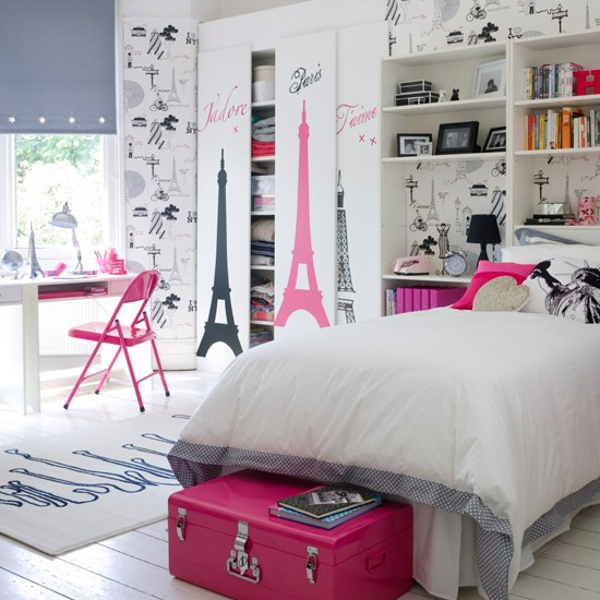this is a really cute bedroom idea for a paris themed bedroom most of