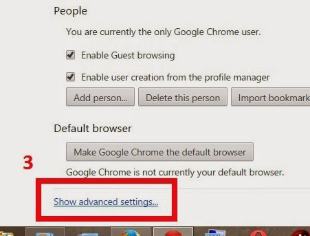 At the bottom, click Show advanced settings
