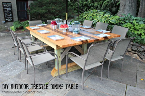 diy outdoor trestle dining table free plans