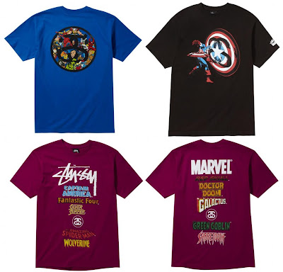 Marvel Comics x Stussy Collection Series 1 - SS Link, Captain America, World Tour (Back &amp; Front) T-Shirts