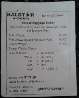 Excess bagasi Kalstar