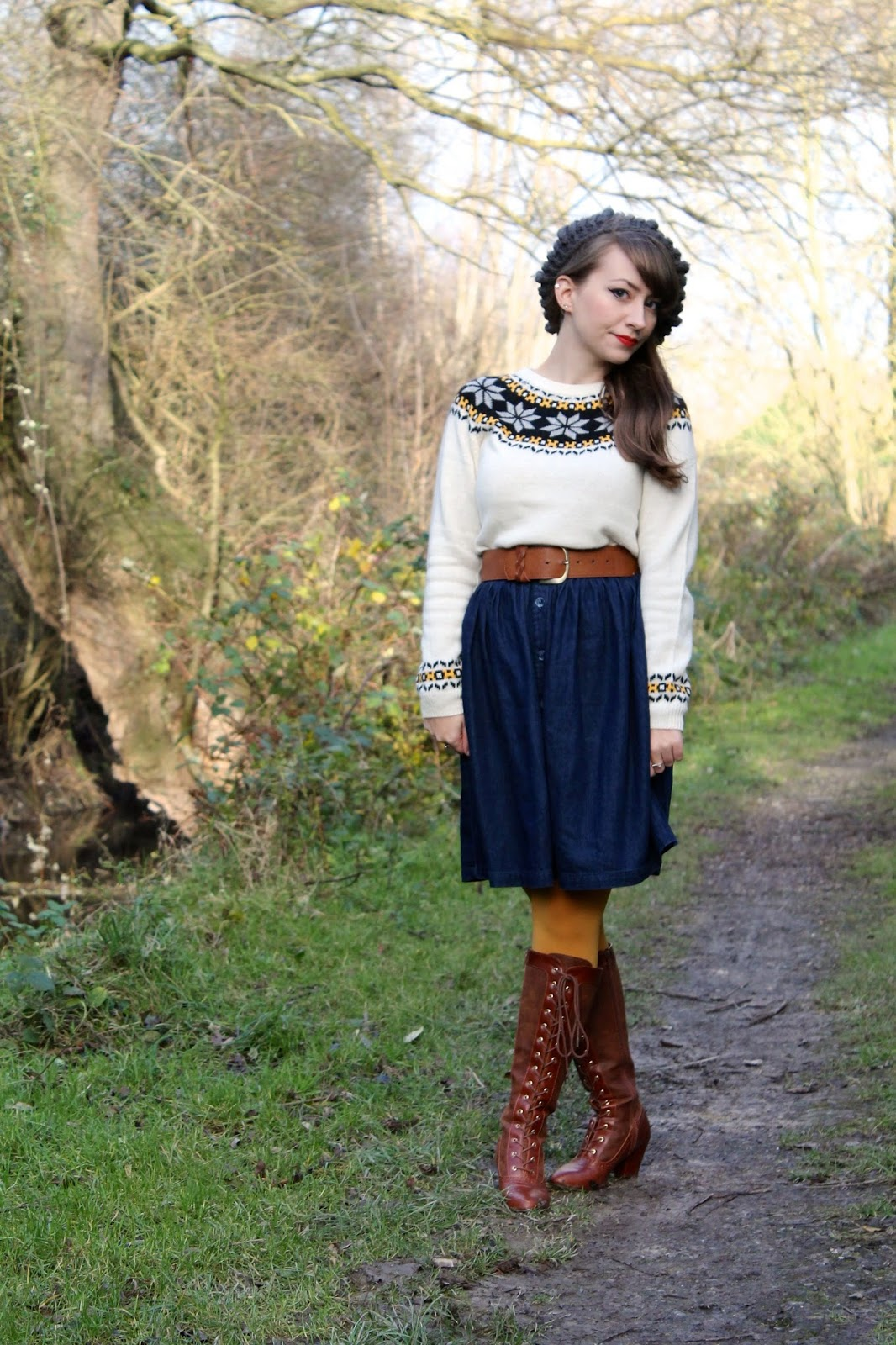 Fairisle jumper, denim skirt and knee high lace-up boots