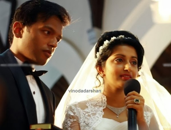 Meera Jasmine and Anil John Titus during the wedding function
