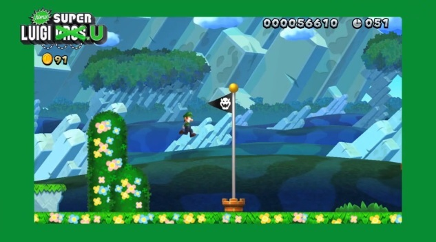 Screenshot of New Super Luigi U with titular character jumping with flagpole on screen.