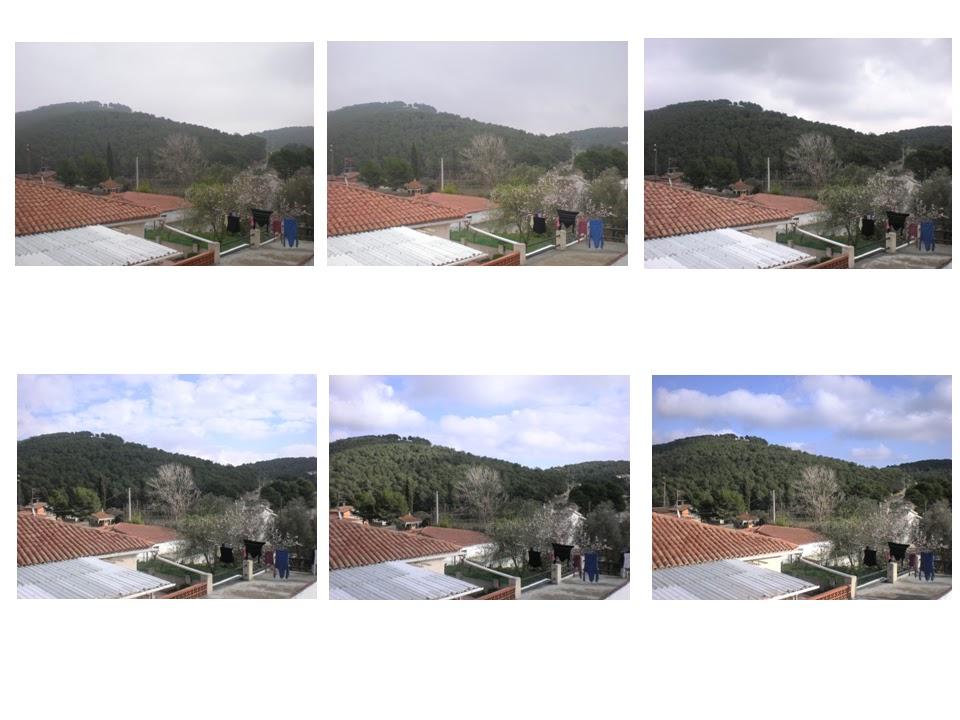 Sis fotografies amb el pas de la llum durant un dia.