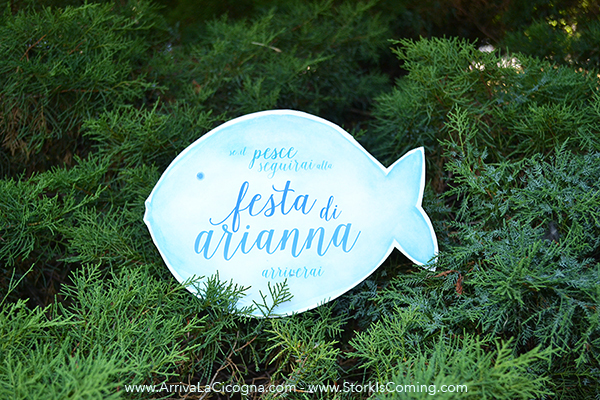 watercolor fish welcome sign for underwater birthday