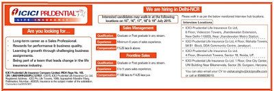 Click on ICICI Pru Life Recruitment Notification to download detailed job advertisement