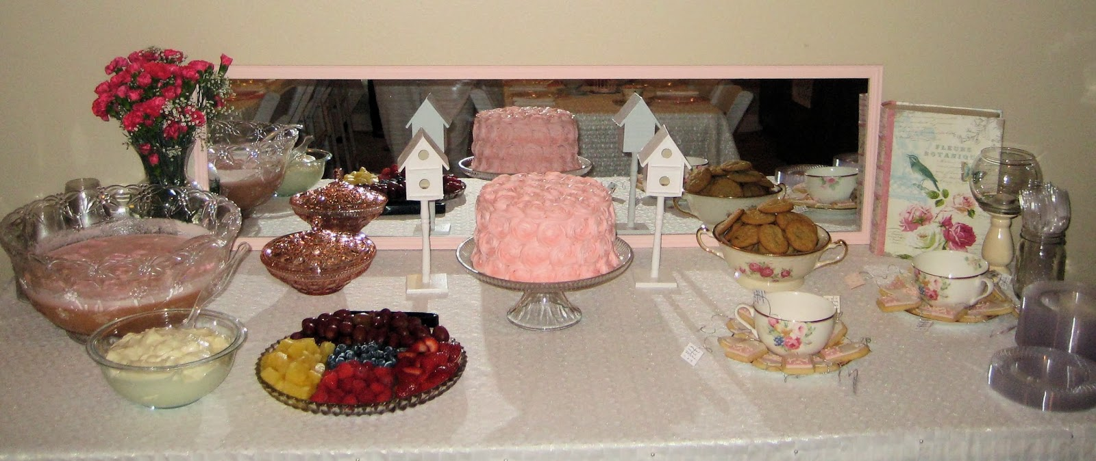 Shabby Chic Baby Shower Pink Rose Cake and Teabag Cookies at Shower