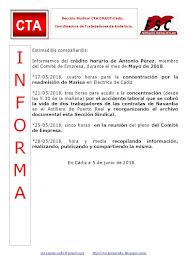 C.T.A. INFORMA CRÉDITO HORARIO ANTONIO PÉREZ, MAYO 2018