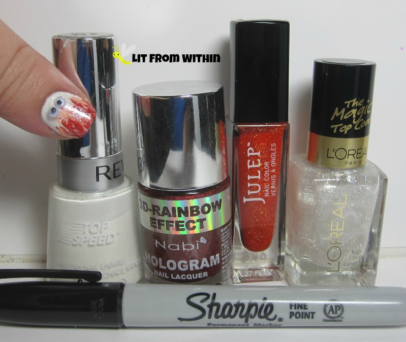 Bottle shot:  Revlon Spirit, Nabi Red, Julep Kyla, L'Oreal The True Diamond, and a Sharpie.