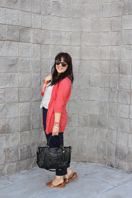 Coral Cardigan + Navy Trousers - Daily Outfit