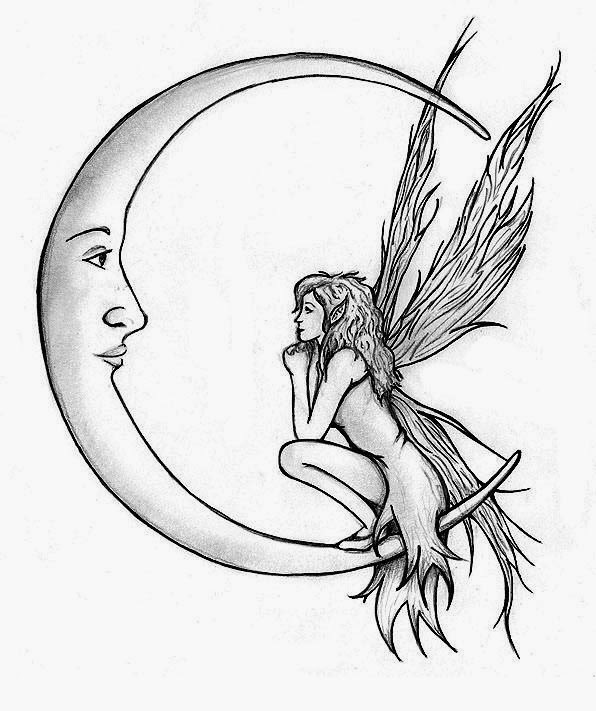 Fairy and moon tattoo stencil