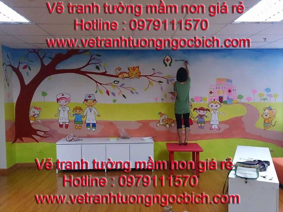 Vẽ tranh tường mầm non bệnh viện Medelab 01