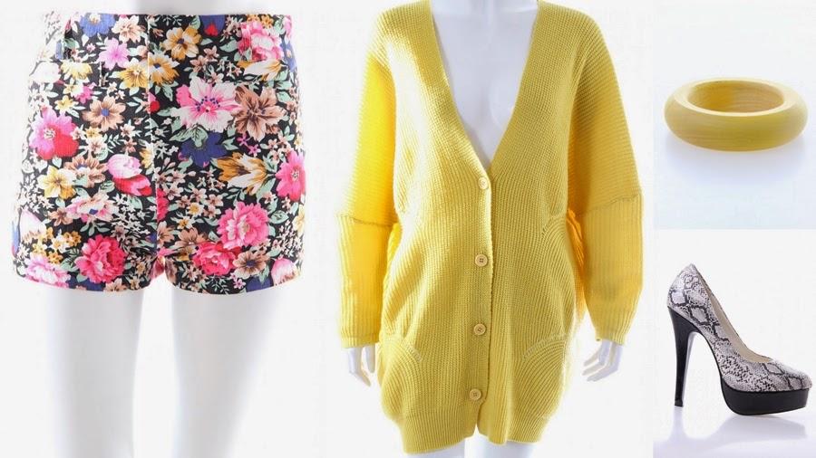 gelbe jacke flower shorts high heels holz armband