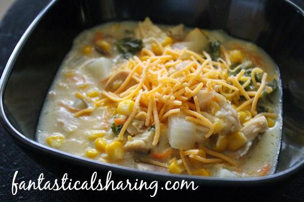 Crockpot Chicken Corn Chowder   The perfect soup for a cool fall night in Crocktober! #soup #crockpot #recipe