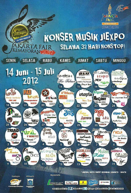 Jadwal konser musik Pekan Raya Jakarta Jakarta Fair 2012