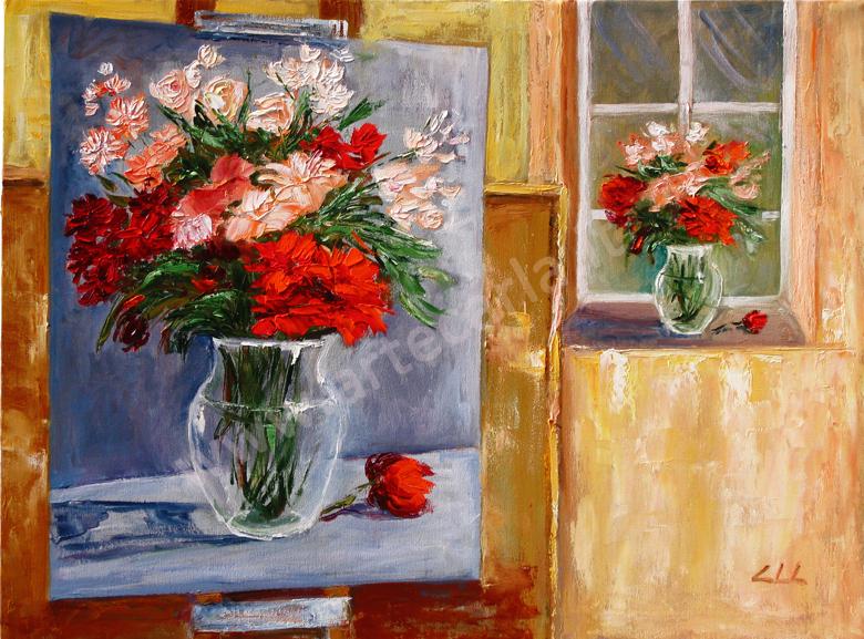 Artecarlacolombo continuo con i fiori opera ad olio for Dipinti ad olio fiori