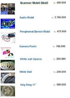 daftar harga aksesoris mobil