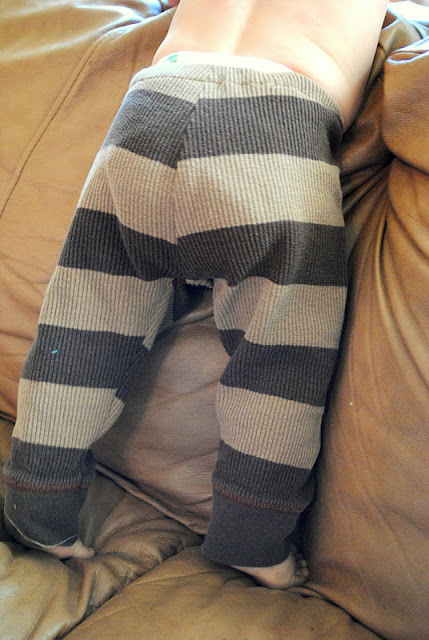 gray and black stripe baby leggings made from t shirt