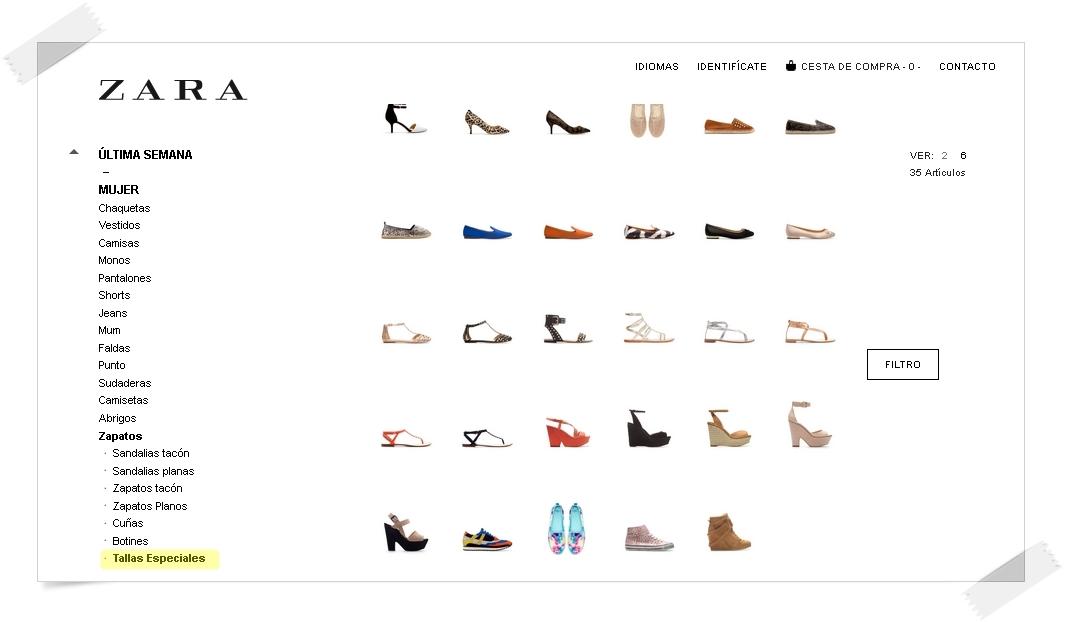 Zara calzado especial de la talla 35 a la 41