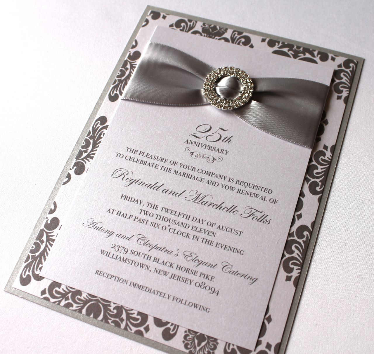 Embellished paperie blog 25th anniversary invitations silver and white damask - Wedding anniversary invitations ...