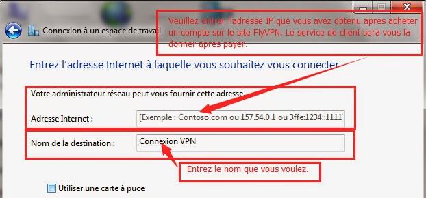 Entrer l'adresse IP