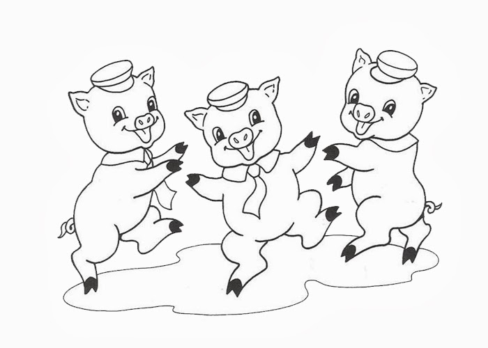 Three Little Pigs Free Colouring