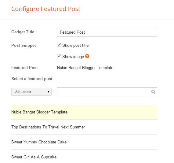 Konfigurasi Widget Entri yang Diunggulkan atau Featured Post