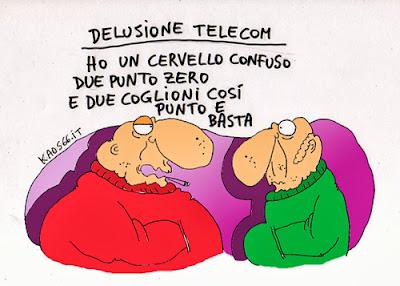 vignetta: La Telecom agli spagnoli di Telefonica