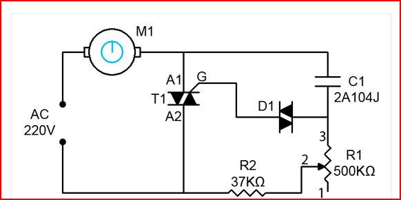 Ceiling fan regulator motor speed control circuit diagram electro in this ceiling fan regulator circuit r1500k is a variable resistor that is used to adjust the fan speed capacitor c1 2a104j is a polyester film aloadofball