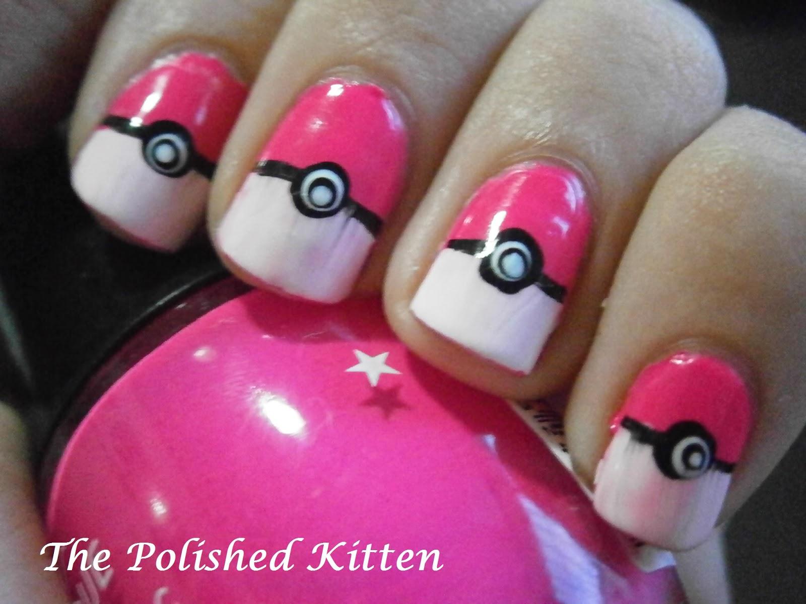 The Polished Kitten: pokeball nail art